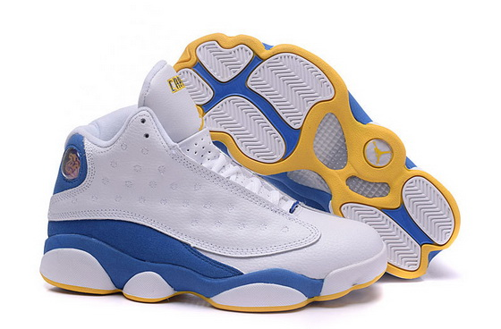 Women's Air Jordan 13 Shoes White/blue yellow