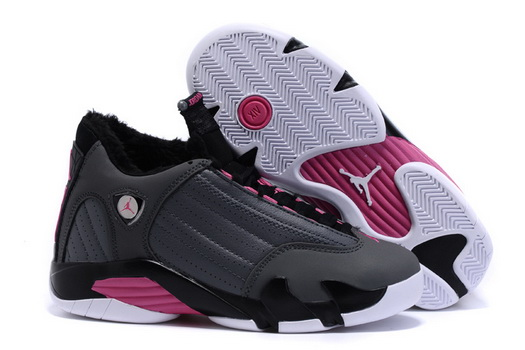 Women's Air Jordan 14 Winter Snow Shoes Grey/pink black white