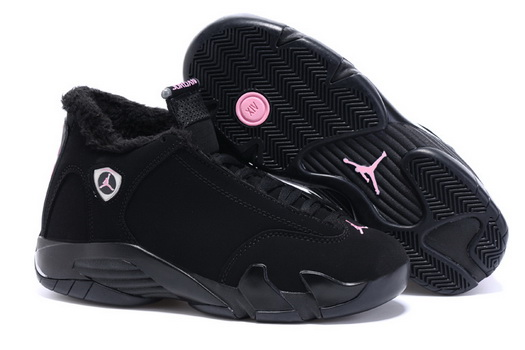 Women's Air Jordan 14 Winter Snow Shoes Black/pink