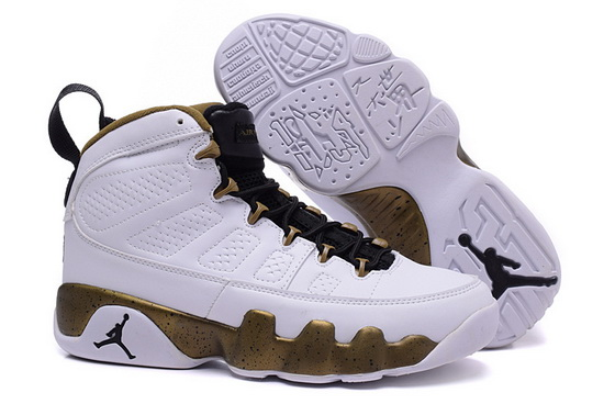 "Womens Air Jordan 9 ""statue"" Shoes White/gold"