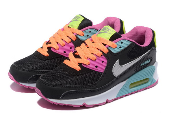 Women's Air Max 90 Shoes Black/pink blue gray
