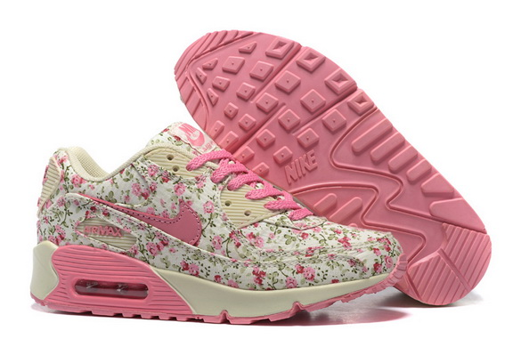 Women's Air Max 90 Shoes White/flower pink