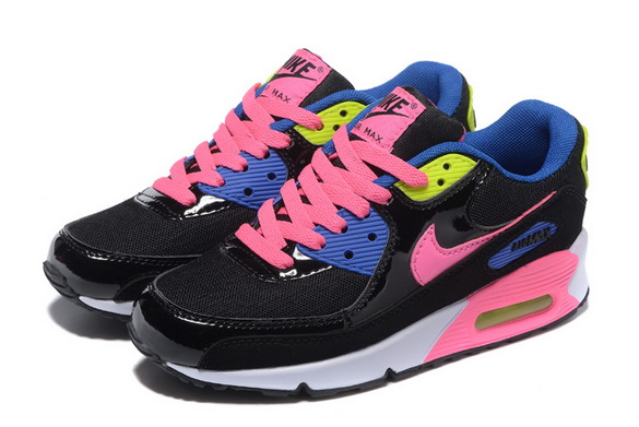 Women's Air Max 90 Shoes Black/pink blue white