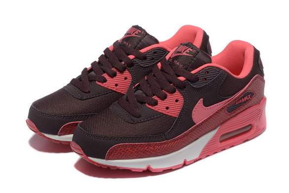 Women's Air Max 90 Shoes Red/brown white
