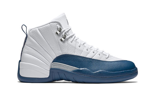 "Women Air Jordan 12 ""French Blue"" Shoes White/dark blue"