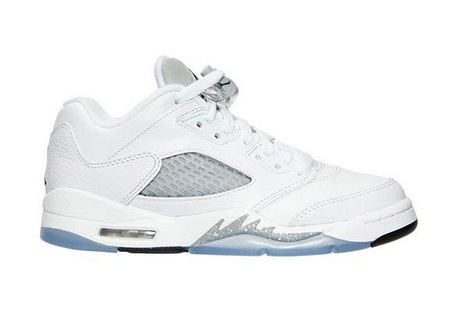 "Air Jordan 5 GS ""White Silver"" Shoes White/Silver"