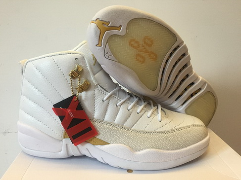 "Womens Jordan 12 ""OVO"" Shoes White/Gold - Click Image to Close"