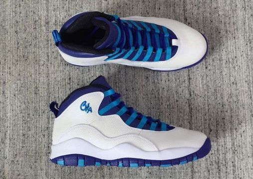 "Womens Jordan 10 ""Charlotte"" Shoes White/Light Purple Blue"