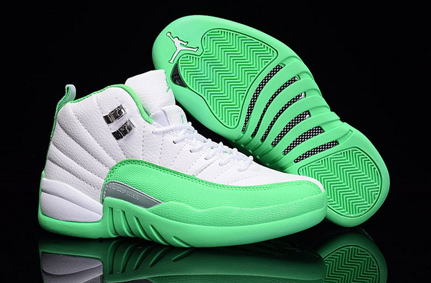 Womens Jordan 12 Retro Shoes Light Green/White