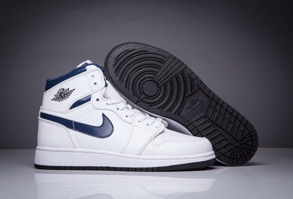 Women Girl Air Jordan 1 High Shoes NAVY Blue/White Black