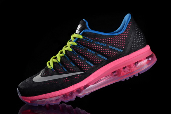 Women's Air Max 2016 Girl Shoes Black/pink blue green