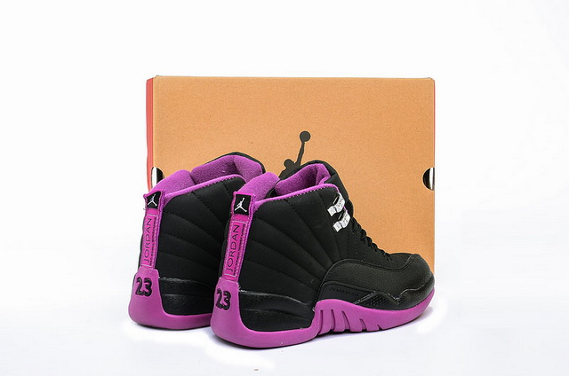 "Womens Air Jordan 12 GS ""Hyper Violet"" Shoes Purple/Black"