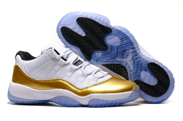 "Womens Jordan 11 Low ""Olympic"" Shoes White/White/Metallic Gold Coin Black"
