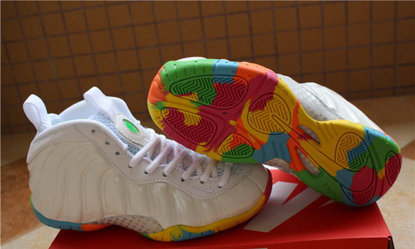 "Womens Air Foamposite One ""Fruity Pebble"" Shoes White/Multi Color"