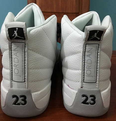 "Womens Air Jordan 12 ""Barons"" Shoes White/Black Grey"