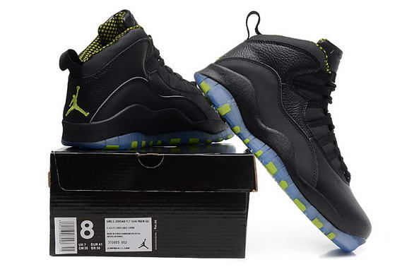 Air Jordan 10 Retro Shoes Black/Venom Green