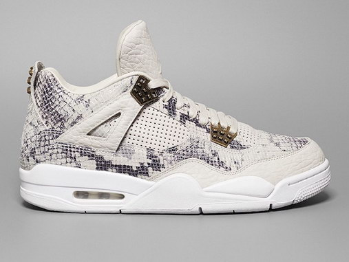 "Air Jordan 4 Premium ""Snakeskin"" Shoes Dark gray/white cinnamon"