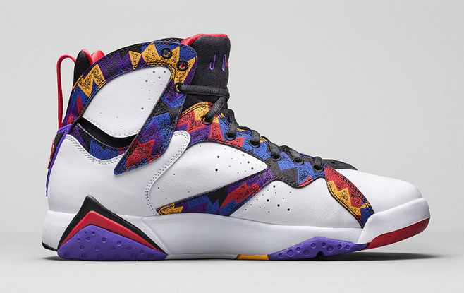 "Air Jordan 7 Retro ""Nothing But Net"" Shoes White/university red bright concord"
