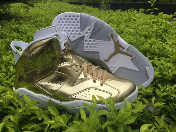 "Air Jordan 6 ""Pinnacle"" Shoes Gold/White"