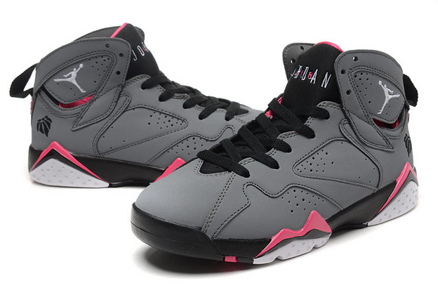 WMNS Air Jordan 7 GS Shoes Gray/pink white